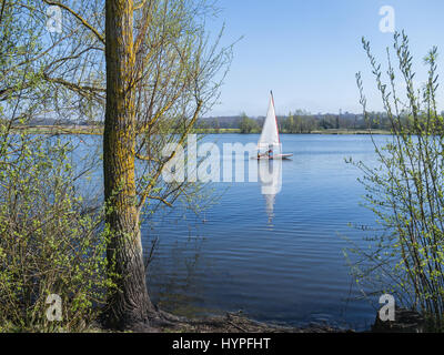 Eine Jolle und seine Reflexion auf einem ruhigen blauen See, Conningbrook Seen Landschaftspark mit Bäumen im Vordergrund. - Stockfoto