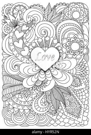 Herzform mit dem Wort Liebe auf schöne Blumenkarte für Design ...