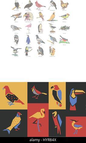 Vector Illustration nahtlose afrikanische Vögel Stilmuster - Stockfoto