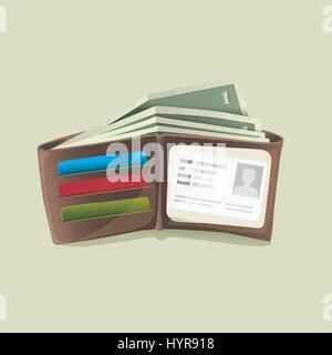 Klassische moderne braun Leder Tasche offen Dicke Brieftasche gefüllt mit Dollar-Banknoten-Vektor-illustration - Stockfoto