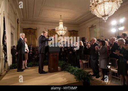 US-Präsident Donald Trump kündigt Richter Neil Gorsuch als seinen Kandidaten an den obersten Gerichtshof im East - Stockfoto