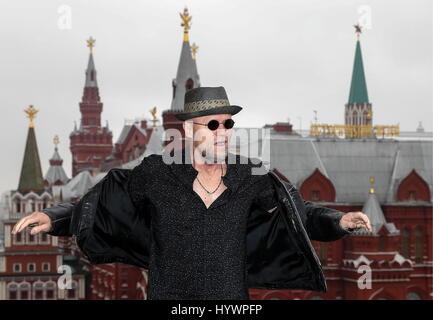 Moskau, Russland. 27. April 2017. US-amerikanischer Schauspieler Michael Rooker stellt bei einem Fototermin auf - Stockfoto