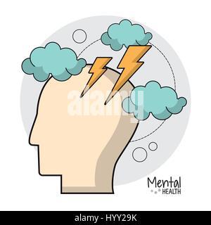 psychische Gesundheit Gehirn Sturm Ideen - Stockfoto