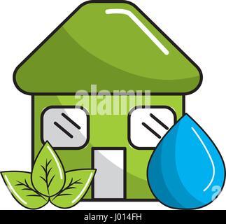 grünes Haus mit Blätter und Wasser fallen - Stockfoto