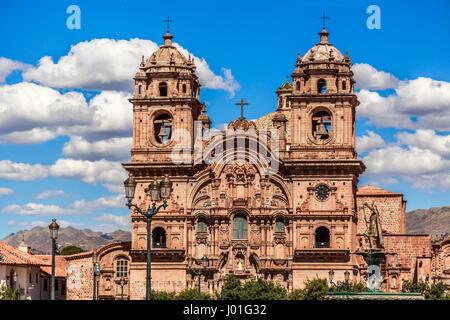 Kirche der Gesellschaft Jesu, eine der größten Kathedralen von Cuzco, Peru - Stockfoto