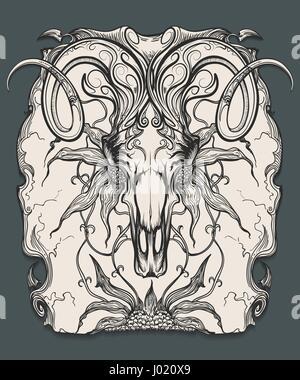 Widder Schädel mit Hörnern und Blumen. Tierische Schädel in Gravur Stil gezeichnet. Vektor-illustration - Stockfoto