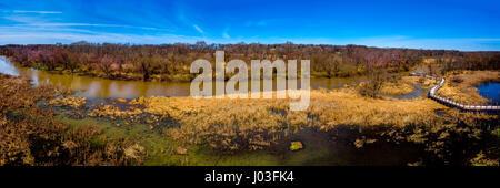 Panorama über den geschützten Feuchtgebieten des Galien River Country Park, neue Buffalo, Michigan - von der hohen - Stockfoto