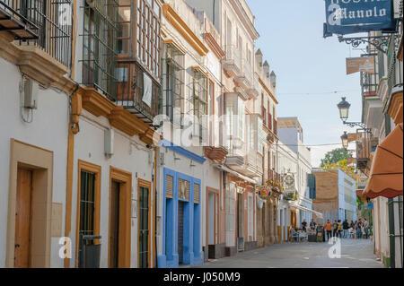 Stadt El Puerto de Santa Maria, Stadt der Wein-Industrie und Sherry, Provinz Cádiz, Spanien - Stockfoto