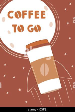 Kaffee-Konzept mit Rucola und Mond Plakat gehen. Einfachen Vektor-illustration - Stockfoto