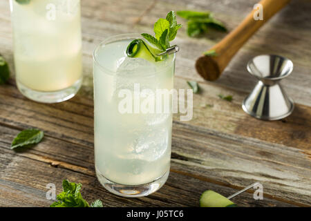 Erfrischende Gurke-Gin-Spritz-Cocktail mit Limette und Minze - Stockfoto