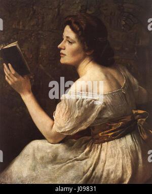 Otto Scholderer Lesendes Mädchen - Stockfoto