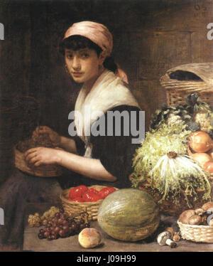 Otto Scholderer Gemüseverkäuferin - Stockfoto