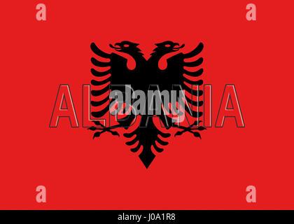 Abbildung der Flagge von Albanien mit dem Land auf die Fahne geschrieben. - Stockfoto