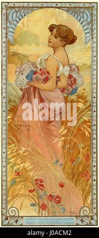 L'Été, Alfons Mucha - Stockfoto
