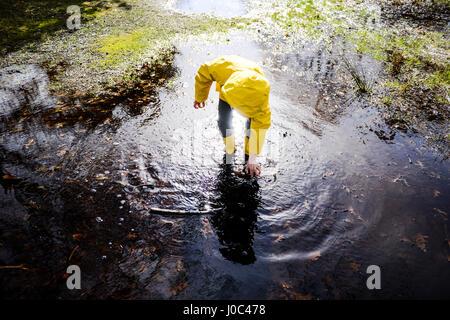 Junge in gelben Anorak Biegung nach vorn im Park Pfütze - Stockfoto