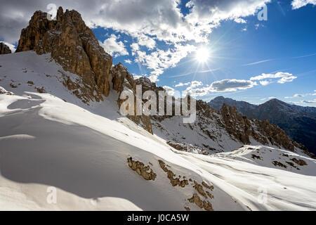Cadini di Misurian Gipfeln in der Nähe von Fonda Savio Hütte in der Nähe von Misurina in den italienischen Dolomiten - Stockfoto
