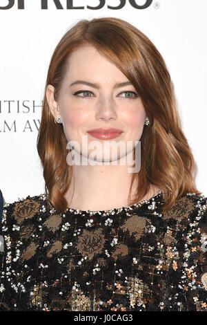 Die amerikanische Schauspielerin Emma Stone besucht die BAFTA-Nominierungen Party im Kensington Palace in London. - Stockfoto