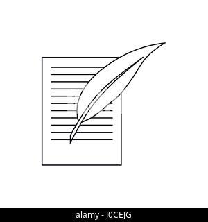 Testament schreiben und Stift-Symbol, Umriss-Stil - Stockfoto