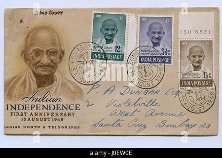 Brief von Mahatma Gandhi, Briefmarken, Indien, Asien - Stockfoto