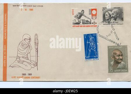 Ersttagsbrief von Gandhi hundertjährigen, Briefmarken, Indien, Asien - Stockfoto