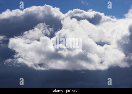Großen weißen Cumulus-Wolken gegen blauen Himmel im Frühjahr. - Stockfoto