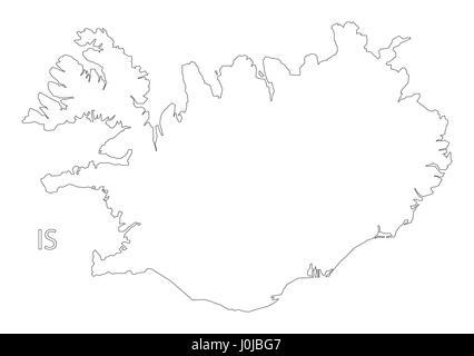 Island Umriss Silhouette Karte Abbildung mit Regionen Vektor ...