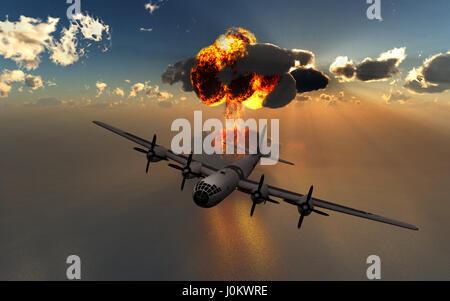 Die Enola Gay A b-29 Superfortress, fallen die ersten jemals Atombombe verwendet In einem Krieg, auf die japanische - Stockfoto
