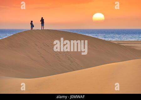 Gran Canaria, sunrise Landschaft der Sanddünen von Maspalomas, Kanarische Inseln, Spanien - Stockfoto