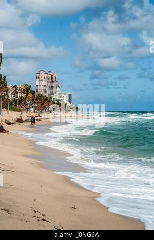 Ft. Lauderdale Beach Florida USA Anfang windig Seegang Palm Bäume sandiger Strand - Stockfoto