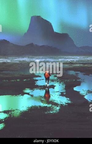 Nachtlandschaft Wanderer mit Rucksack Blick auf Berge und buntes Licht am Himmel, Illustration, Malerei - Stockfoto
