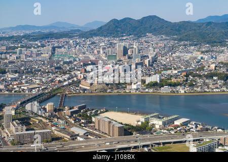 Luftaufnahme der Stadt Fukuoka in Fukuoka, Japan. - Stockfoto