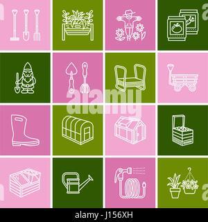 gartenbau abbildung d nne linie symbole lineare. Black Bedroom Furniture Sets. Home Design Ideas