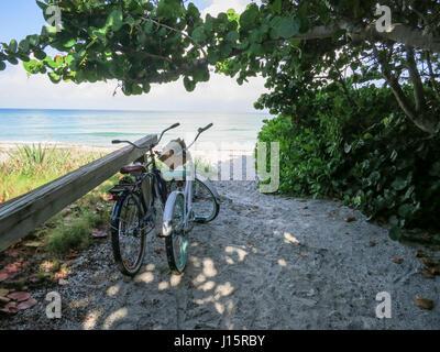 Beach Cruiser Bikes gelehnt auf einem Strand Zaun mit Blick auf den Golf von Mexiko. - Stockfoto