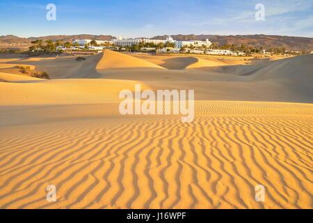 Sand-Landschaft des Nationalparks Maspalomas, Kanarische Inseln, Gran Canaria, Spanien - Stockfoto