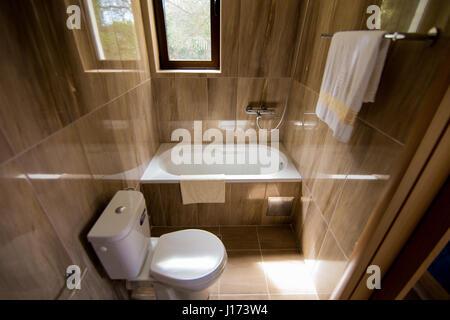 Badezimmer Mit Gefliesten Wanden Und Grossen Glasscheibe Dusche Mit