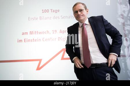 Berlin, Deutschland. 19. April 2017. Michael Müller (SPD), Bürgermeister von Berlin, auf einer Pressekonferenz in - Stockfoto