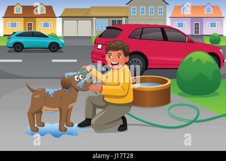 Eine Vektor-Illustration des kleinen Jungen, seinen Hund ein Bad in der Einfahrt - Stockfoto