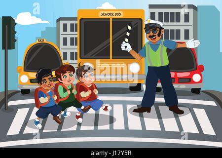 Eine Vektor-Illustration von Kindern, die Straße zu Fuß durch Zebrastreifen überqueren - Stockfoto