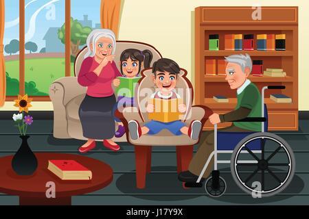 Ein Vektor Illustration Kinder besuchen den Ruhestand nach Hause und lesen Geschichten für die Bewohner - Stockfoto
