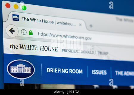 LONDON, UK - 13. April 2017: Die offizielle Homepage von The White House und der Trump-Verwaltung, am 13. April 2017. Stockfoto