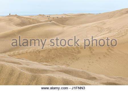 Touristen auf den Dünen in Maspalomas auf Gran Canaria, einer der Kanarischen Inseln. - Stockfoto