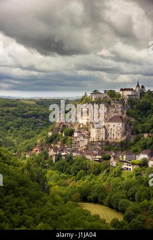 Rocamadour, ein französisches Dorf im Südwesten Frankreichs. - Stockfoto