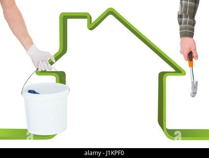 Digitalen Verbund von Hand mit Hammer und Hand mit einem Würfel vor einem grünen Haus - Stockfoto