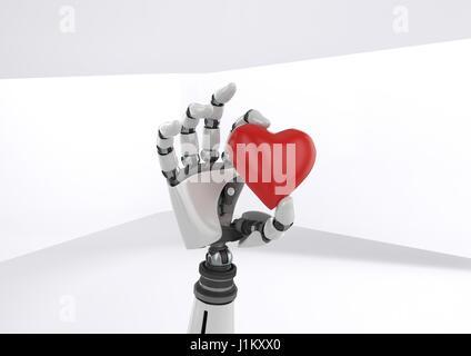 Digitalen Verbund aus Android-Roboter-Hand mit Herz mit hellem Hintergrund - Stockfoto