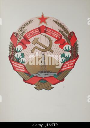 Wappen von der Aserbaidschanischen Sozialistischen Sowjetrepublik unter USSR - Stockfoto