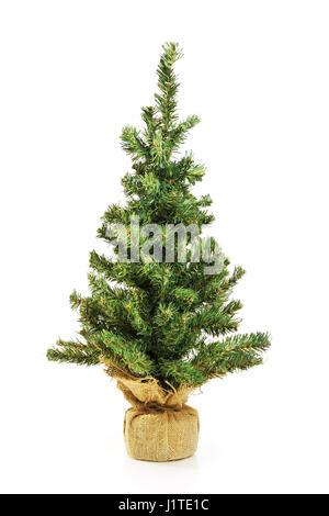 Nackte Weihnachtsbaum ohne Dekoration isoliert auf weiss - Stockfoto