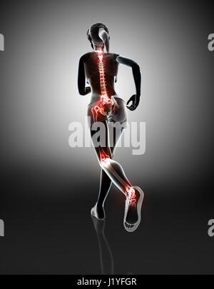 3D Illustration - Frau Runing posieren mit Röntgen Gelenke und Beine ...