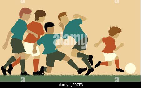 Bearbeitbares Vektor-Illustration eines jungen schlagen ältere Jungen im Fußball - Stockfoto
