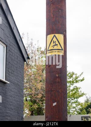 Strom schlag Warnung, Gefahr von tot. Nur autorisierte Person.. rote ...