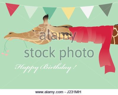 Vintage Geburtstag Grußkarte mit lustigen Jiraffe mit Schal. Vektor-Illustration. - Stockfoto